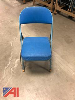 Blue & Red Upholstered Folding Chairs